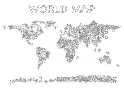 Giant coloring poster world map letters