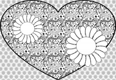 giant coloring poster flowers and heart