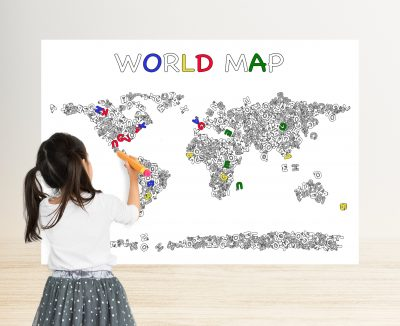 giant coloring poster world map alphabet letter
