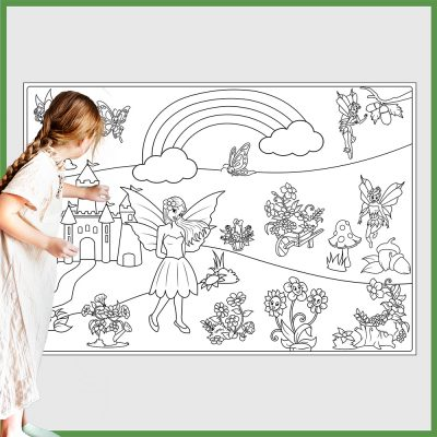 giant coloring poster fairies and flowers 2