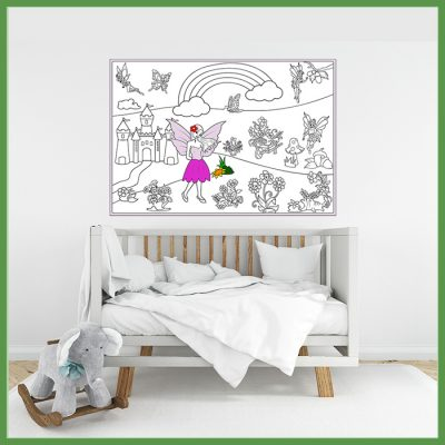 giant coloring poster fairies and flowers