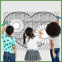 giant coloring poster heart and flowers