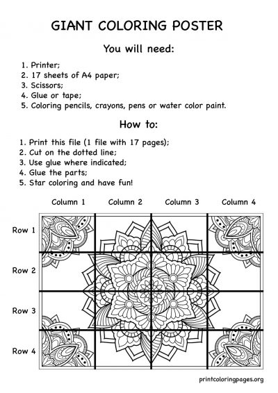 giant coloring poster instructions mandala