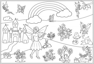 giant coloring poster printable fairies and flowrs