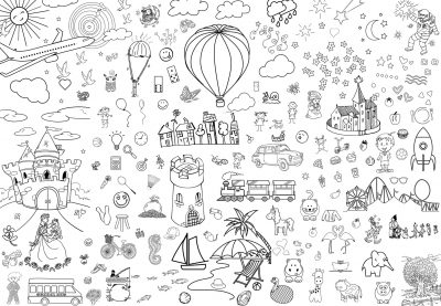 giant coloring poster printable happy world