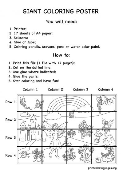 printable giant coloring poster fairies and flowers