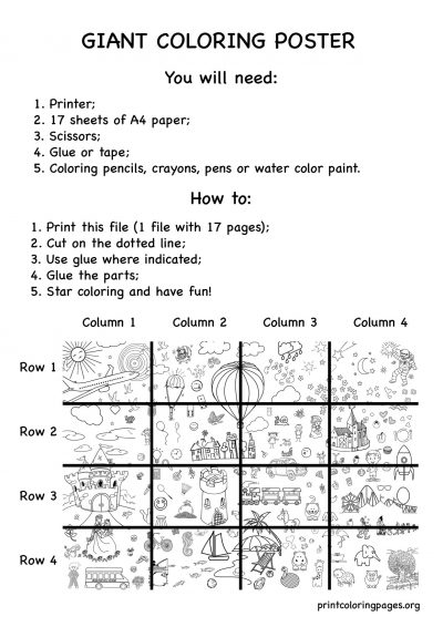 printable giant coloring poster happy world