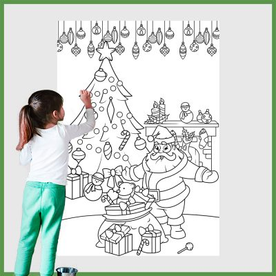 Giant Christmas Tree and Santa Claus Coloring Pages