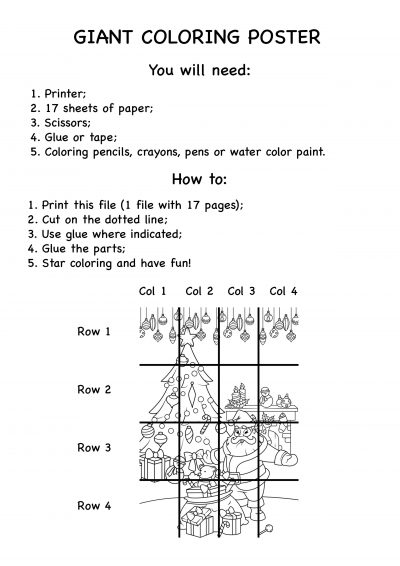 Giant Christmas Tree coloring pages instructions